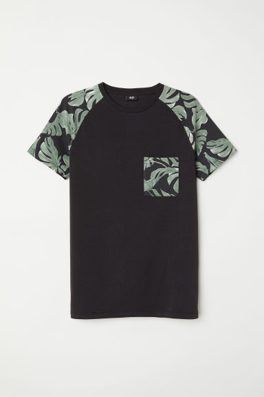 T-shirt Muscle Fit - Black/Green - Men | H&M