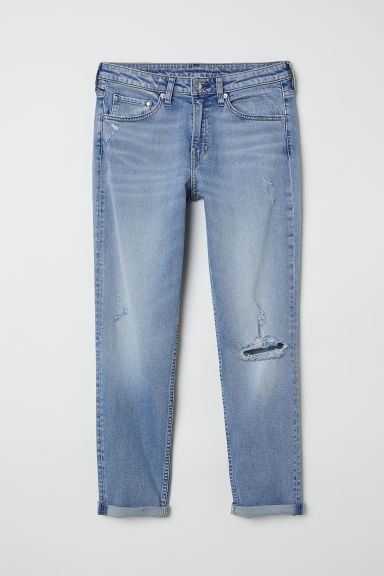 Girlfriend Regular Jeans - Bleu denim clair/Trashed - FEMME | H&M CH