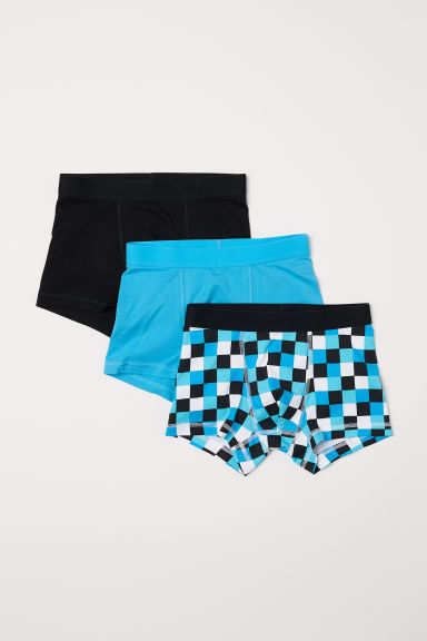 3-pack boxer shorts - Turquoise/Checked - Kids | H&M CN