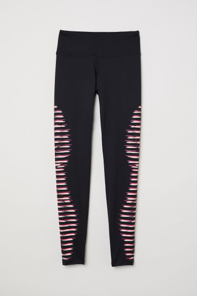 Sports tights - Black/Stripe print - Ladies | H&M