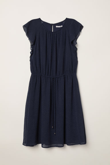 Flounce-sleeved dress - Dark blue - Ladies | H&M CN
