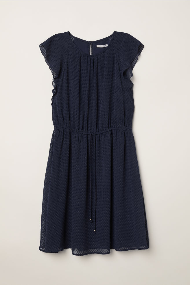 70229268e603 Flounce-sleeved Dress - Dark blue - Ladies   H&M ...