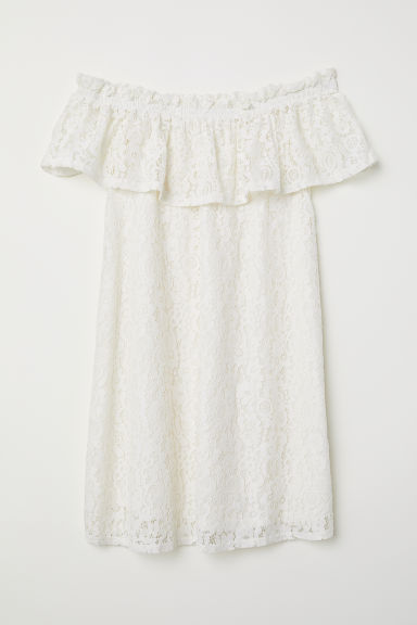 Off-the-shoulder lace dress - White - Ladies | H&M CN