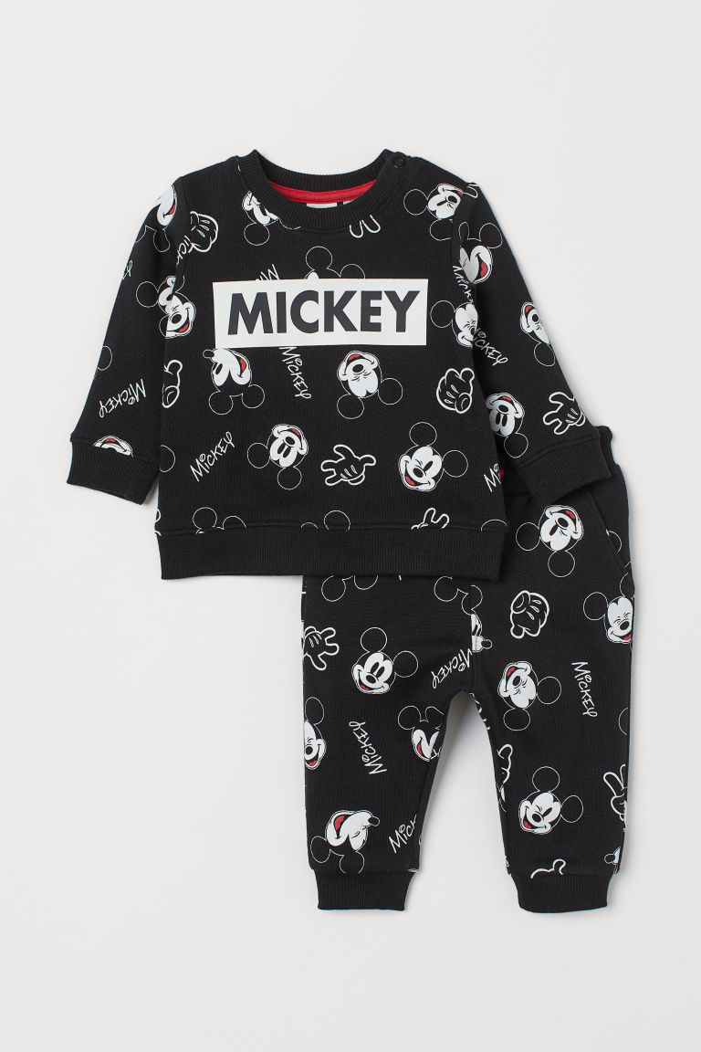 Sweatshirt and Pants - Black/Mickey Mouse - Kids | H&M US