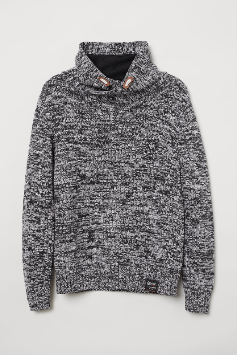Knitted cotton jumper - Black marl - Kids | H&M