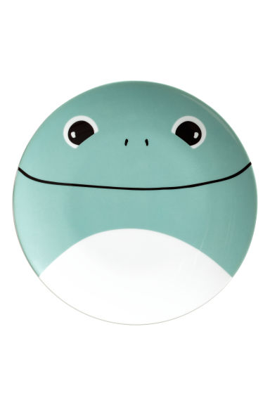 Printed porcelain plate - Green/Frog -  | H&M GB