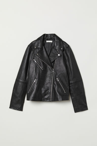 Leather biker jacket - Black - Ladies | H&M