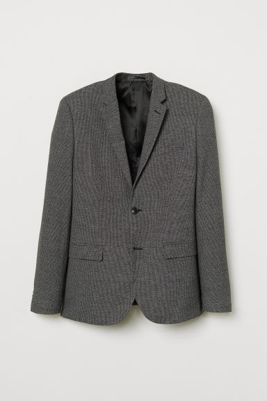Checked jacket Skinny Fit - Black/Checked - Men | H&M CN
