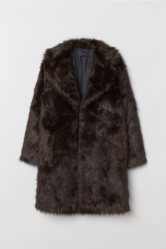 260a4cec6147 ... Faux Fur Coat - Dark brown - Men