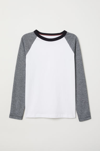 Jersey top - Dark grey marl/White - Kids | H&M IE