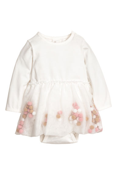 Dress with pompoms - White - Kids | H&M CN