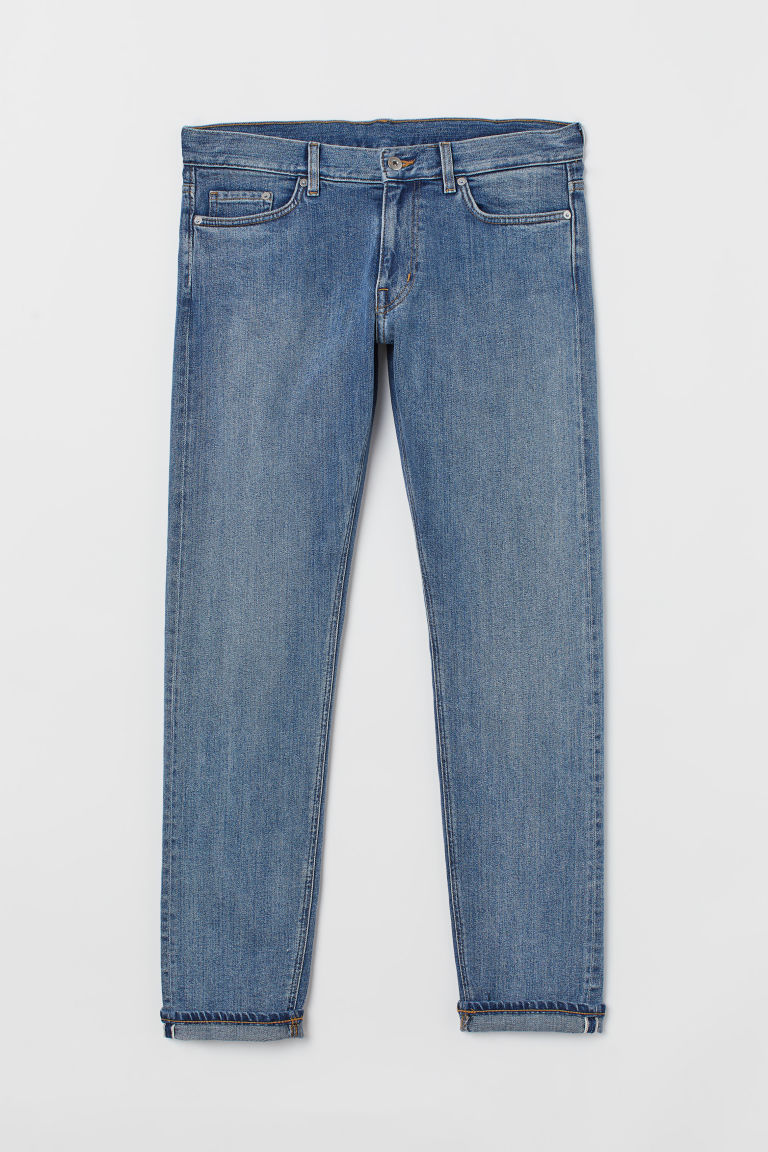 Slim Selvedge Jeans - Azul denim/Lavado - Men | H&M MX