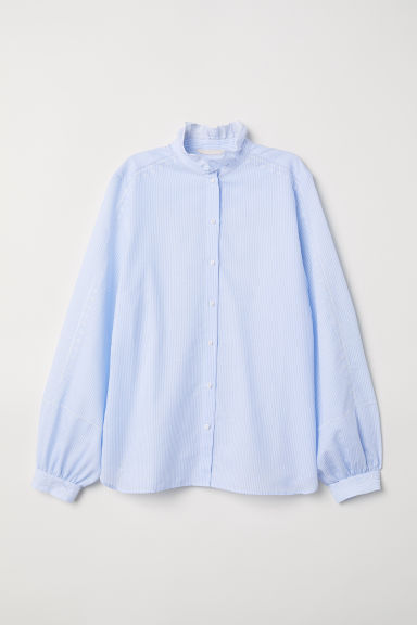 Cotton blouse with embroidery - Light blue/White striped - Ladies | H&M