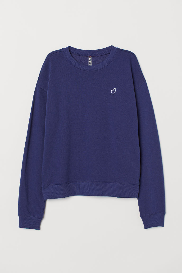 Sweatshirt - Dark blue/Heart -  | H&M GB