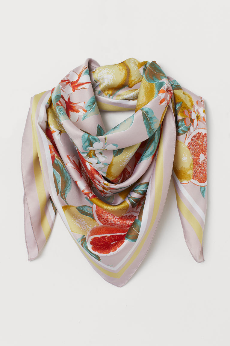Patterned Satin Scarf - Powder pink/citrus fruit - Ladies | H&M US
