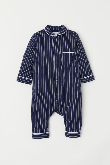 All-in-one pyjamas - Dark blue/White striped - Kids | H&M