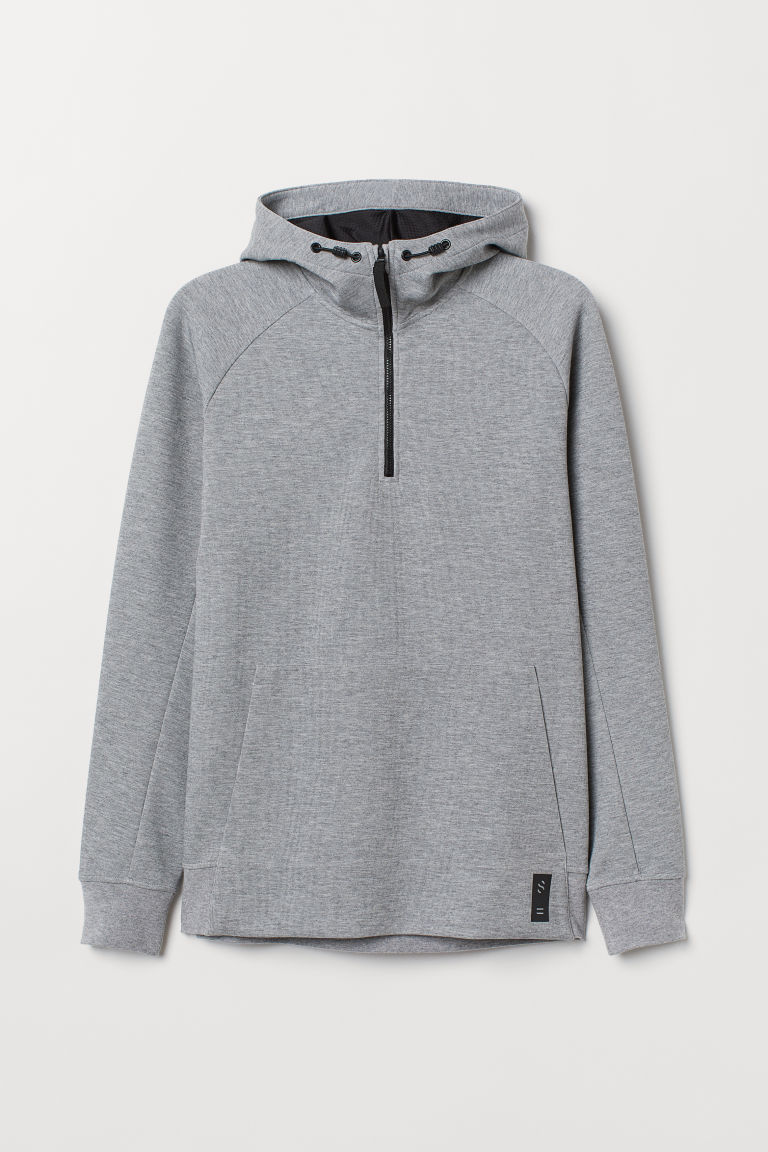 Hooded sports top - Grey marl - Men | H&M