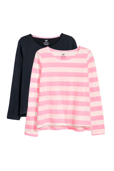 2-pack tops - Pink striped/Dark blue - Kids | H&M