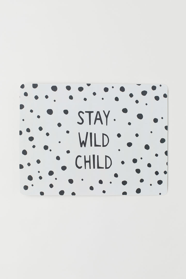 Mantel individual impreso - Blanco/Stay Wild Child - Home All | H&M MX