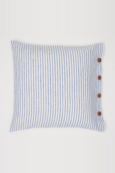 Washed linen cushion cover - White/Blue striped -  | H&M CN