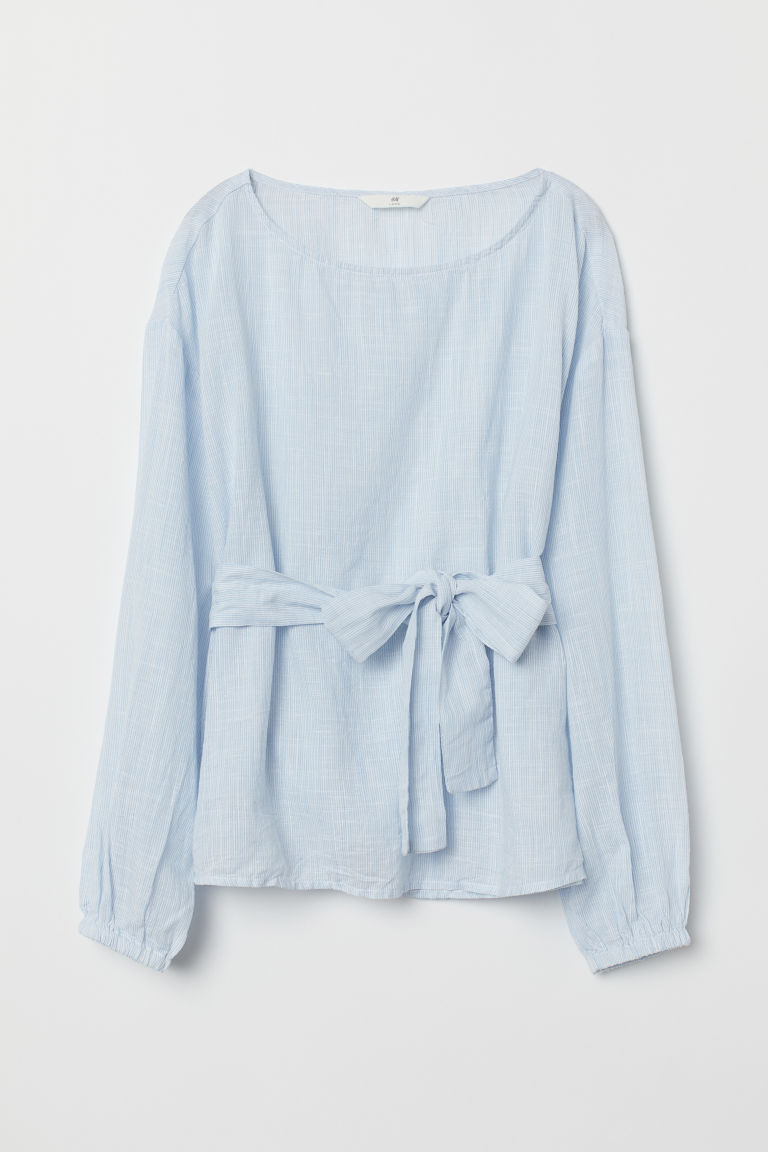 Blouse with a tie belt - Light blue -  | H&M GB