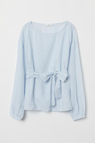 H&M - Blouse with a tie belt - 5