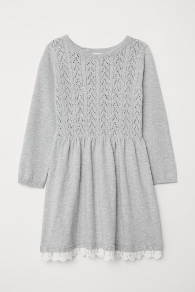 Fine-knit dress - Light grey - Kids | H&M