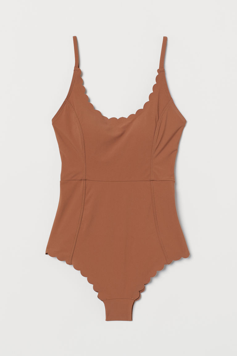 Scallop-edged swimsuit - Light brown - Ladies | H&M GB