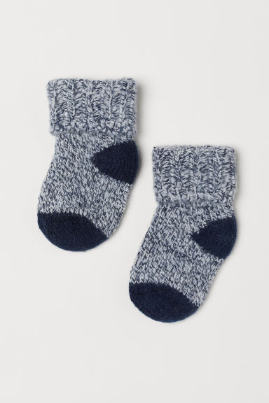 Thick wool-blend socks - Dark blue - Kids | H&M