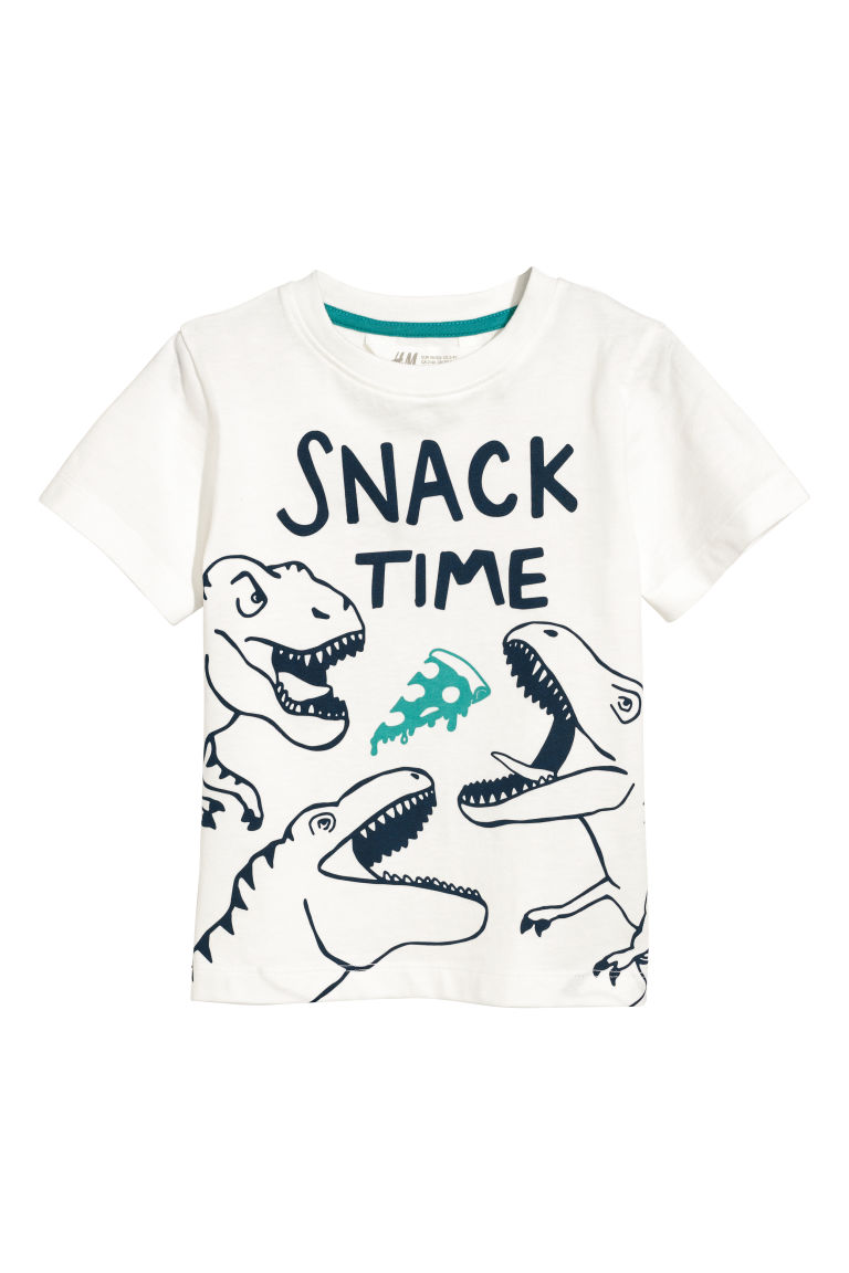 Printed T-shirt - Natural white/Snack Time - Kids | H&M GB