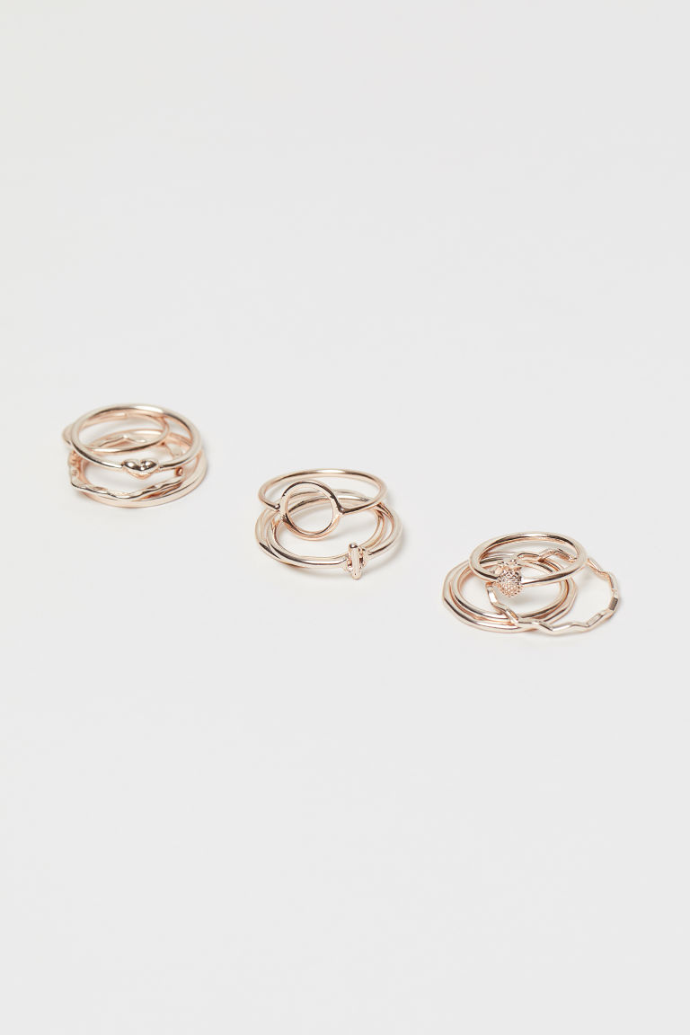11er-Pack Ringe - Roségoldfarben - Ladies | H&M AT