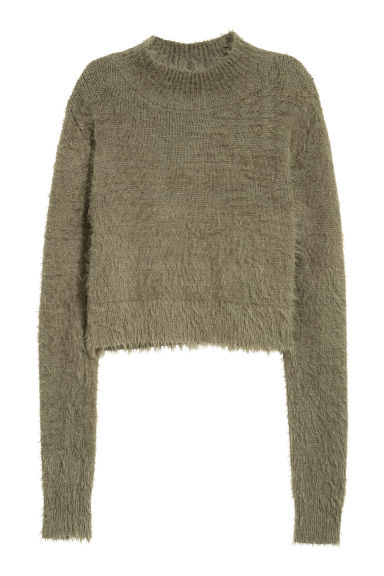 Cropped turtleneck jumper - Moss green - Ladies | H&M CN