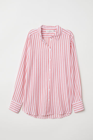 Cotton shirt - Red/White striped - Ladies | H&M