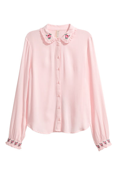 Blouse with embroidery detail - Light pink -  | H&M