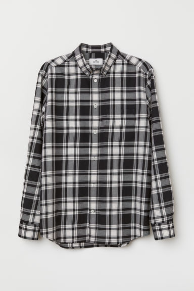 Checked cotton shirt - Black/White checked - Men | H&M