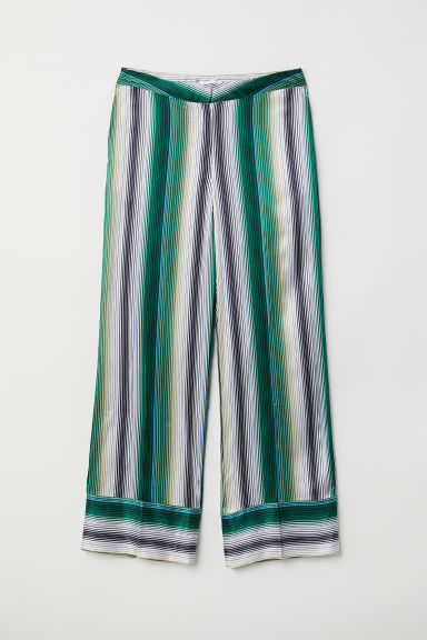 Striped silk trousers - Emerald green/Multistripes - Ladies | H&M CN