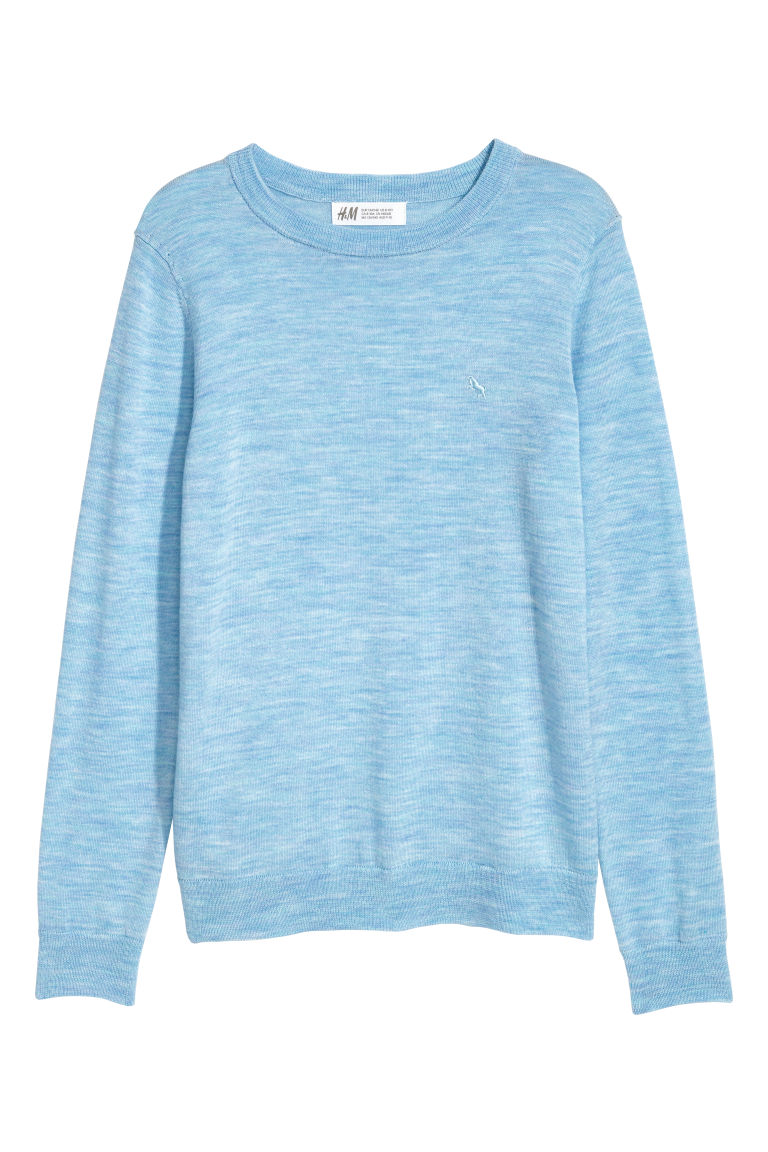 Fine-knit merino wool jumper - Dark blue - Kids | H&M IE