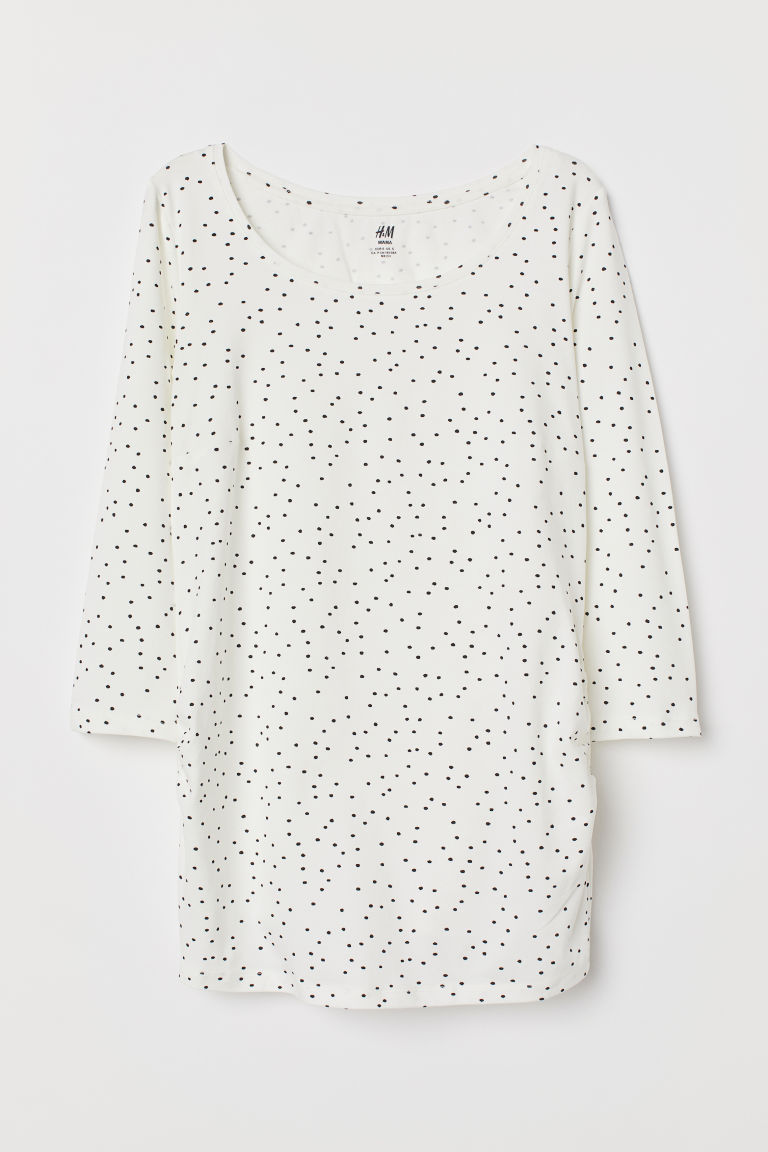 MAMA Cotton Jersey Top - Natural white/black dotted - Ladies | H&M CA