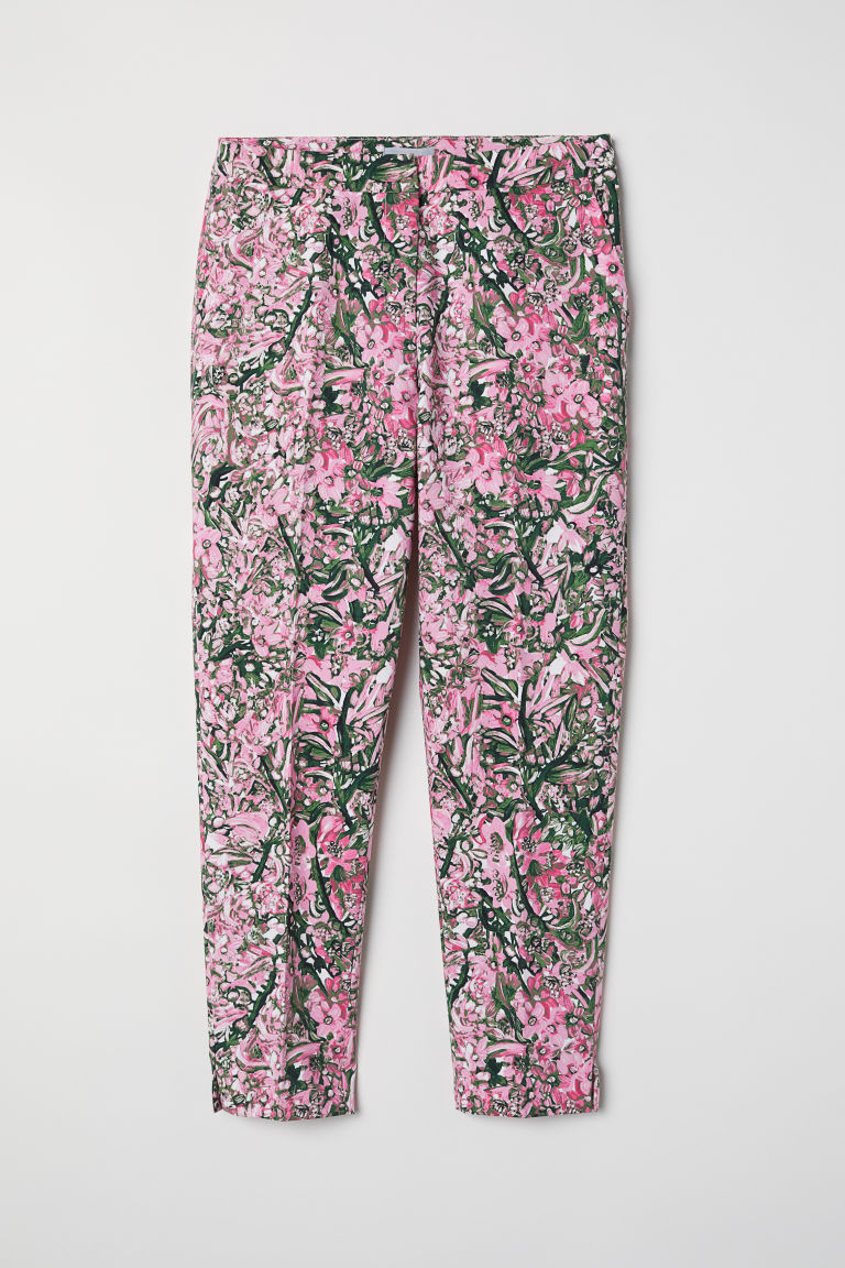 Tailored trousers - Pink/Floral - Ladies | H&M CN