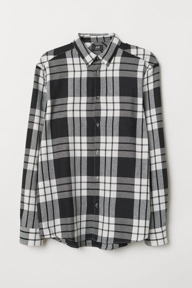 Flannel shirt Regular fit - White/Checked - Men | H&M CN