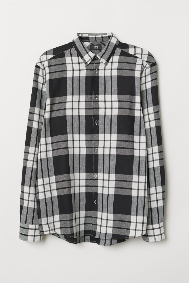 19cdcdfd14e9a Regular Fit Flannel Shirt - White/checked - Men | H&M ...