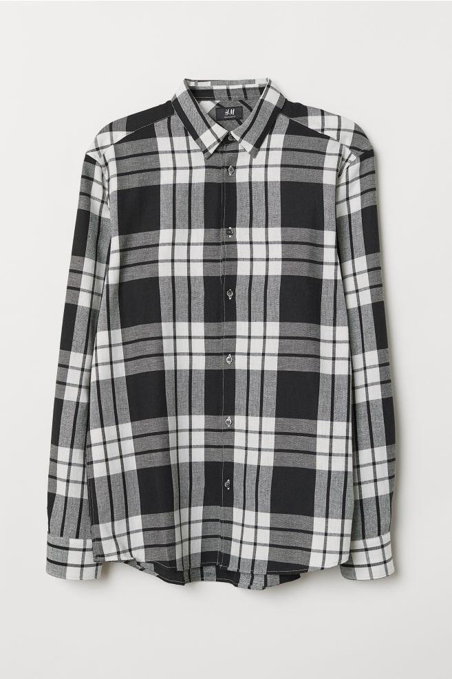 58b44966216e Regular Fit Flannel Shirt - White/checked - Men | H&M ...