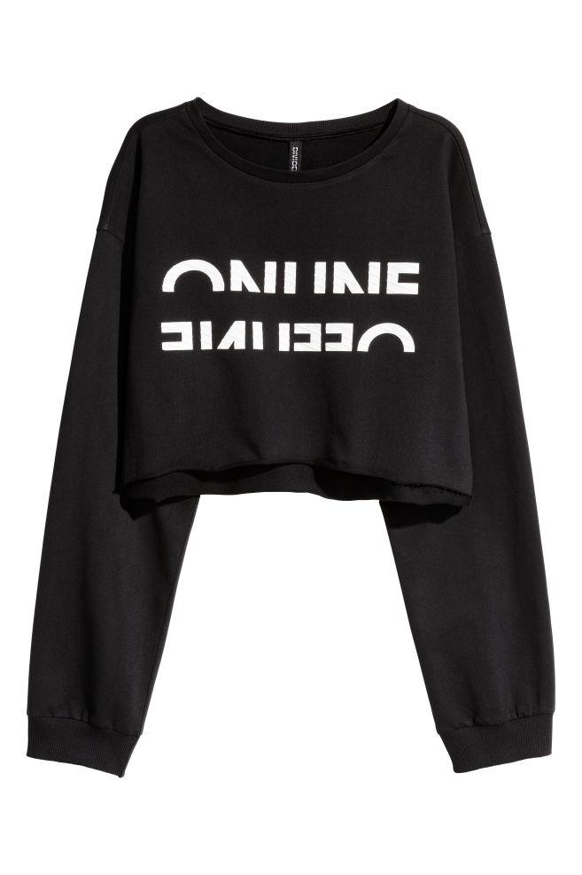 2ebf8592a5d5d Sweat-shirt court - Noir - FEMME