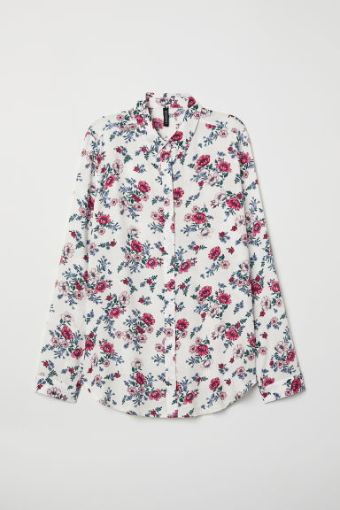 Viscose shirt - White/Floral - Ladies | H&M
