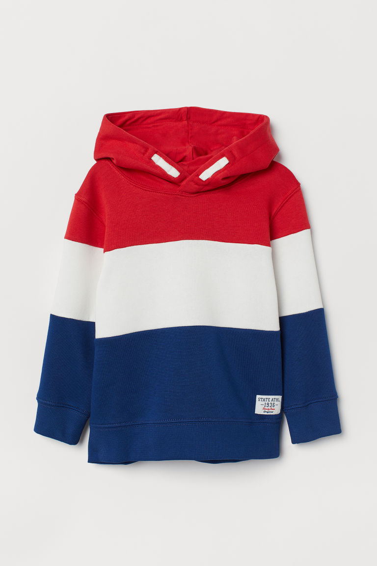 Hooded top - Red/Block-coloured - Kids | H&M