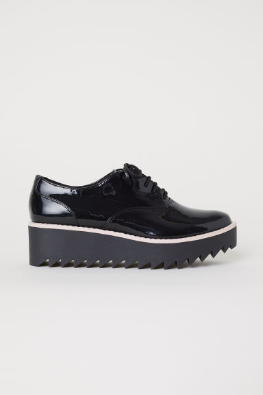 Patent platform shoes - Black -  | H&M