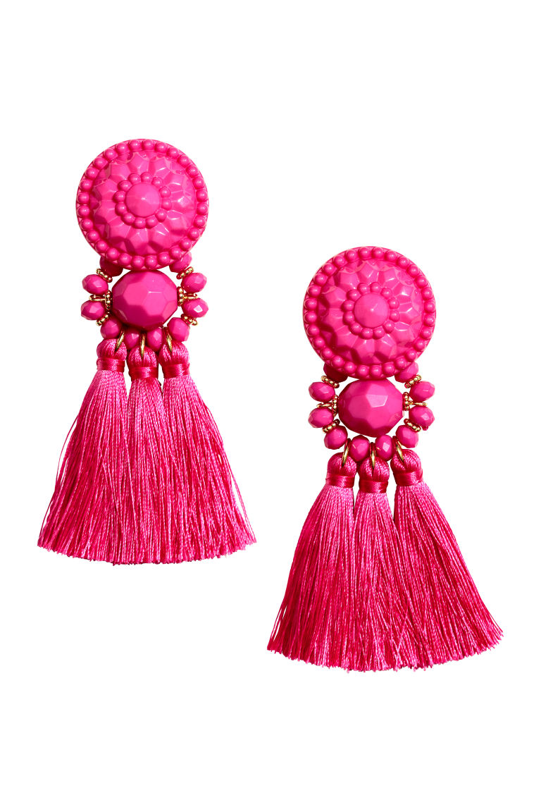 Earrings with Tassels - Pink - Ladies | H&M CA