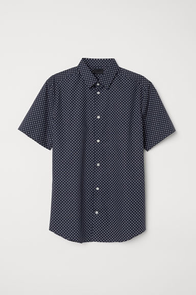 Short-sleeved shirt Slim fit - Dark blue/Spotted - Men | H&M CN
