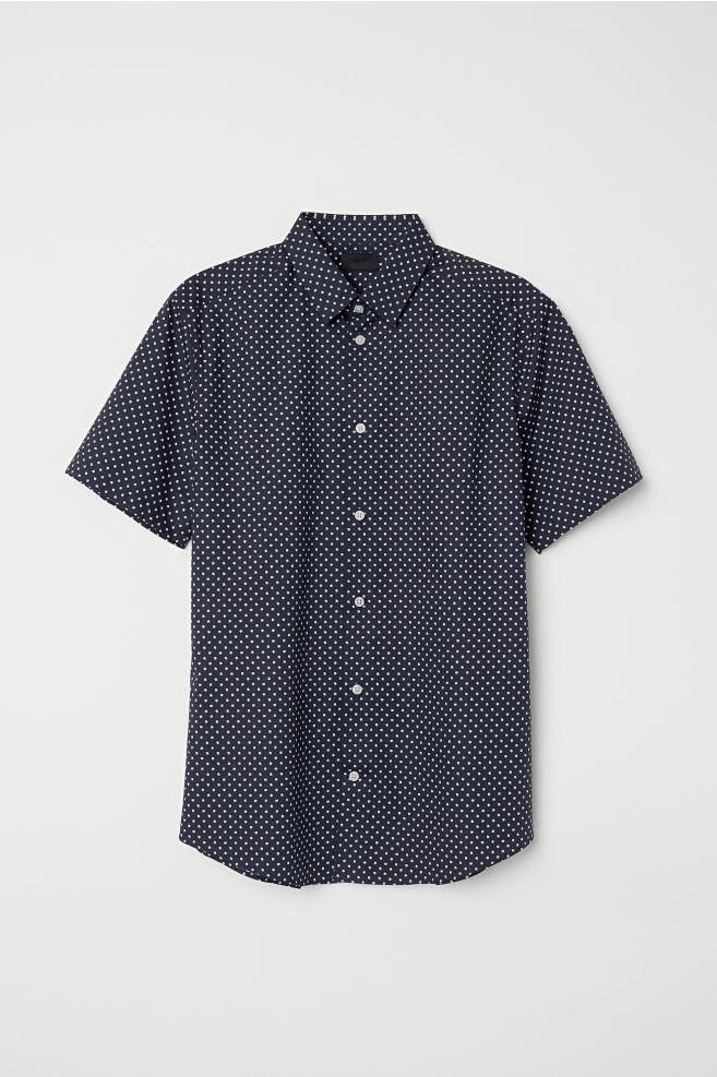 61a89a740cf0 Short-sleeved shirt Slim fit - Dark blue Spotted - Men