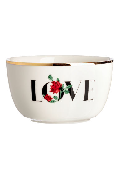 Porcelain bowl with a motif - White -  | H&M IE
